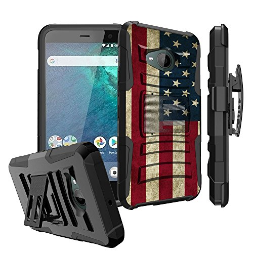 Untouchble Case for HTC U11 Life Case, HTC U11 Life [U11 Life Only] Case [Heavy Duty Clip] Shockproof Swivel Holster Case with Kickstand - Vintage America Flag (Htc U11 Best Price)