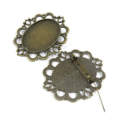 10 Pieces Fermoir Jewelry Making Supply Charms Findings Bronze Tone C7KG1 Pinback Oval Brooch Cabochon Frame