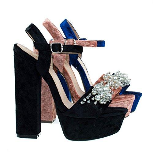 Davies1 Black Pearl On Chunky Block Heel Platform Dress Sandal  Velvet Party Club Shoe  7