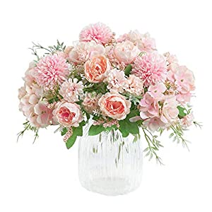 Silk Flower Arrangements KIRIFLY Artificial Flowers, Fake Peony Silk Hydrangea Bouquet Decor Plastic Carnations Realistic Flower Arrangements Wedding Decoration Table Centerpieces 2 Packs (Light Pink)