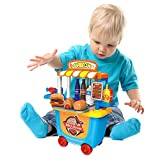 Kids Small Supermarket Toy Trolley Car Early Development Education - Barbecue Cart Pretend Food Play...
