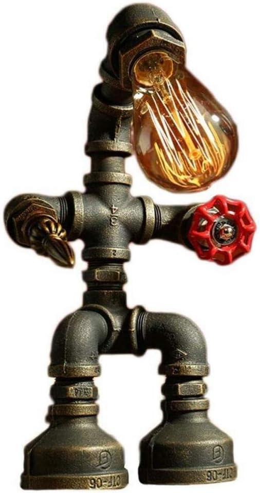 Hensdb Loft Metal Creativo del Tubo De Agua Robot Lámpara De Escritorio, Lámpara De Mesa Industrial Robot Retro Mesa De Iluminación Interruptor De Botón, para El Hogar Cocina Baño,B: Amazon.es: Hogar