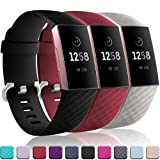 Wepro Bands Replacement Compatible Fitbit Charge 3 for Women Men Small, 3 Pack