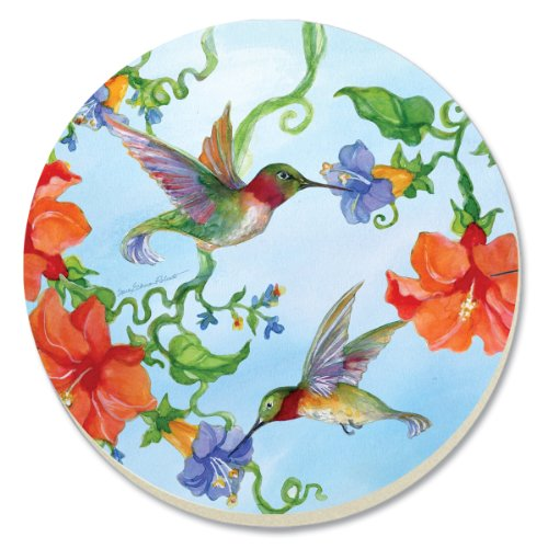 CounterArt Decorative Absorbent Coasters, Hummingbirds with Orange, Set of 4 by CounterArt