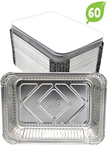 (60 Pack) Aluminum Disposable 2-LB Takeout Pans l Standard Size 8.6