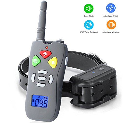 Dog Training Collar,Rechargeable and Waterproof Beep/Vibration/Shock Electric Collar for Small Medium Large Dogs,10-88lbs,Shock Collar for Dogs with 330yd Remote