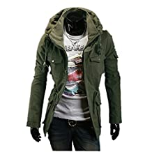 Fine Mens Military Style Hipster Hooded Long Sleeve Jacket Coat