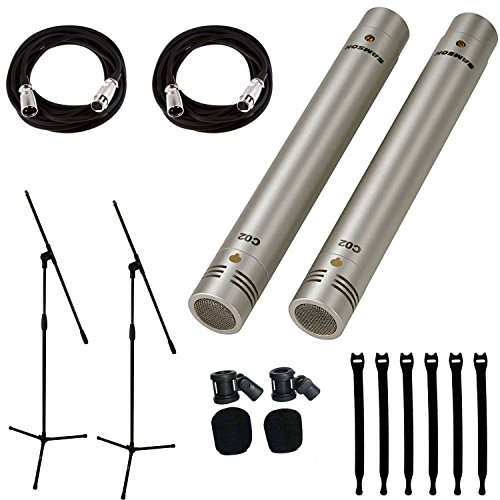 (Samson C02 Pencil Condenser Microphones + 2 Mic Stands + 2 Mic Cables + Strapeez - Top Value Bundle)