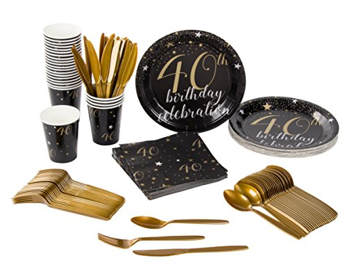 Disposable Dinnerware Set - Serves 24-40th Birthday Party Supplies - Includes Plastic Knives, Spoons, Forks, Paper Plates, Napkins, Cups (Cups Napkins Invites Plates)