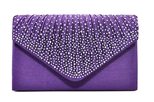 Nodykka Women Evening Envelope Rhinestone Frosted Handbag Party Bridal Clutch Purse Shoulder Cross Body Bag,Onesize,Violet