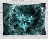 Space Decorations by Ambesonne, Outer Space  Nebula in the Space with Crystal Charming Star Galaxy Solar System Cosmos Art Print Image, Wall Hanging for Bedroom Living Room Dorm, 80 X 60 Inch, Teal