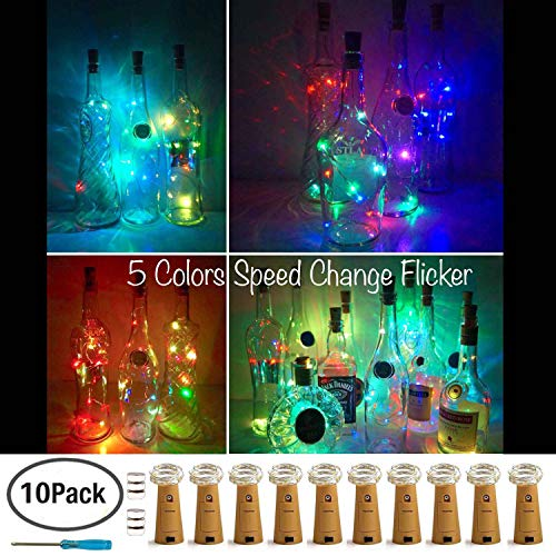 Wine Bottle Lights with Cork,LoveNite 5 Colors Flicker 10 Pack Battery Operated 10 LED Cork Shape Silver Copper Wire Colorful Fairy Mini String Lights for DIY,Party,Decor,Christmas,Halloween,Wedding
