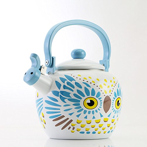 Gourmet Art Owl Enamel-on-Steel Whistling Kettle]()