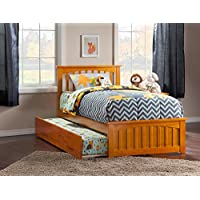 Mission Bed with Matching Foot Board and Trundle, Twin, Caramel Latte