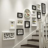 Emma Home Photo Wall Solid Wood Photo Frame Wall European Style Staircase Corridor Creative 13 Picture Combination Photo Frame Photo Wall (Color : Black White)