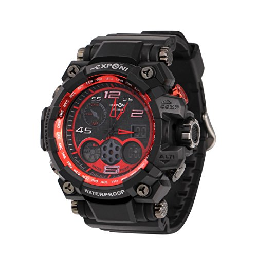 Men's Sports Watch, Analog Digital Watch Outdoor Waterproof Wrist Watch Electronic Quartz Movement Military Watch LED Backlight Watches for Men