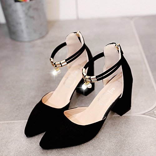 Zapatos Gruesos Sandalias Femeninos Tacones Femeninos Singles Altos EU37 Zapatos De Eu36 con SHOESHAOGE Mujer xtwgg