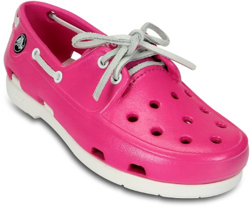crocs Beach Line Patent Boat Shoe (Little Kid), Neon Magenta/White, 1 M US Little Kid