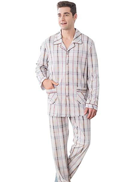LvRao Pijama de dos piezas para Hombre Algodon Pijamas de Hombre Manga Larga Botones Pijama #