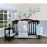 GEENNY Boutique Baby 13 Piece Nursery Crib Bedding Set, Blizzard Blue Grey El...