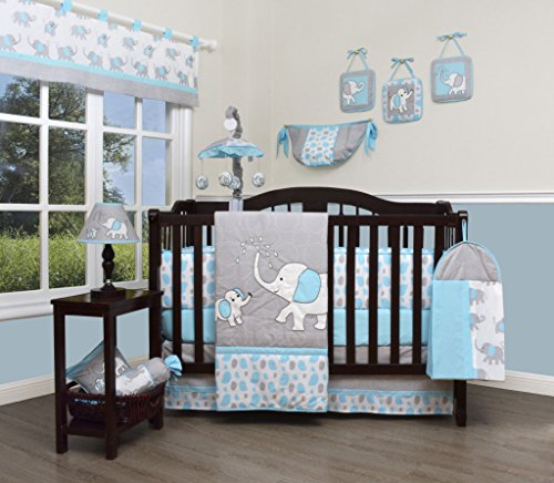 (GEENNY Boutique Baby 13 Piece Nursery Crib Bedding Set, Blizzard Blue Grey Elephant)