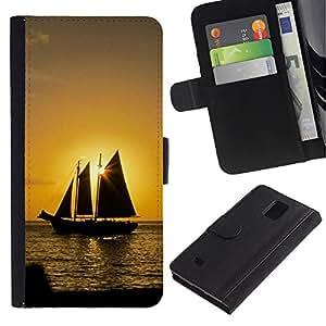 Billetera de Cuero Caso Titular de la tarjeta Carcasa Funda para Samsung Galaxy Note 4 SM-N910 / Sunset Ship Beautiful Nature 10 / STRONG