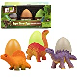 Animal Planet Super Grow Dinosaur Eggs 3 Pack - Dino Egg Toys Hatch and Grow to 3x Size in Water - Brachiosaurus, Spinosaurus, & Stegosaurus w Educational Fact Cards