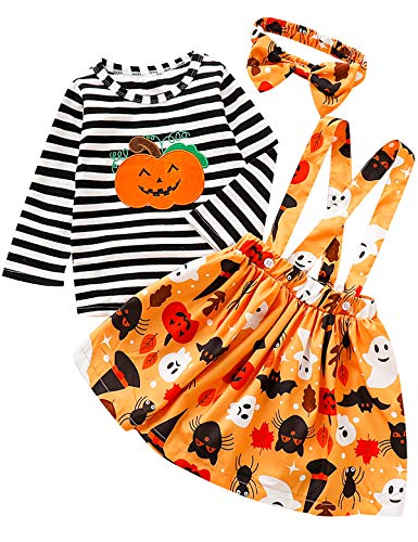 Halloween Costumes 24 Months (Truly One Toddler Girls Halloween Outfit Pumpkin Costume Dress Set (A-Orange, 18-24)