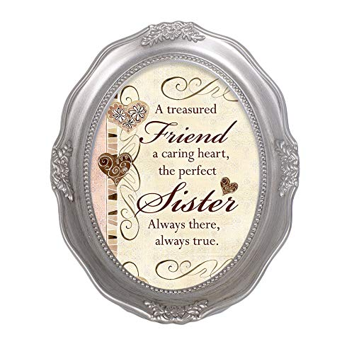 Cottage Garden A Treasured Friend, A Caring Heart Metallic Wavy 5 x 7 Oval Table Top and Wall Photo Frame