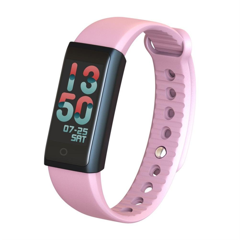RTYou Professional Sports Activity Sleep Tracker Heart Rate Fitness Pedometer Bracelet Smart Watch (Pink)