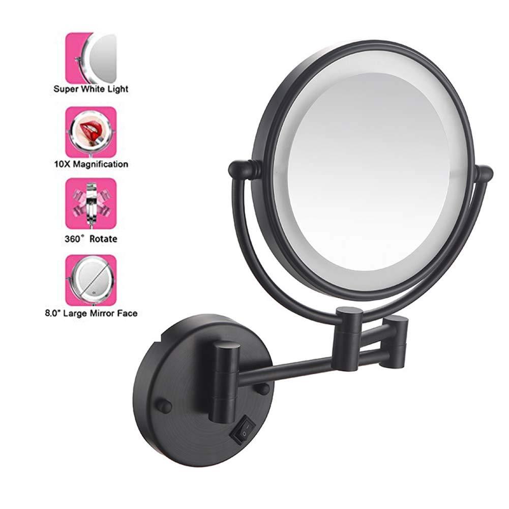 8 in ,Warmlight,Charging ZHAONI 10X Ingrandimento Specchio Ingranditore Specchietti da Trucco A Parete con Luce LED Bilaterali Girevole Orizzontali A 360 /° E Verticali Finitura Cromata
