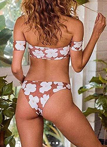 Pezzi Stampa Home Size Large 2 A Maroon Di Con Bagno Fiori Bikini Maroon color Tute Donna Da xHSnqwSP0