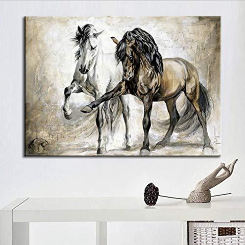 Caballo Vintage Oleo Cuadro Impresion en Lienzo Modernos Pintura Decorativo para Salon Dormitorios Habitacion Casa Decor Blanco y Marron,40X60cm