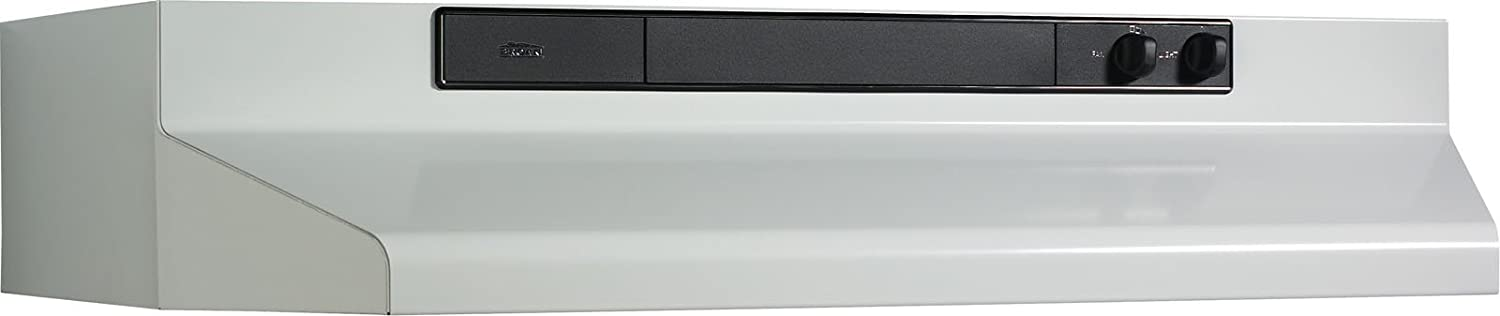 """Broan 462401 Convertible Range Hood Insert with Light, Exhaust Fan for Under Cabinet, White, 220 CFM, 24"""""""