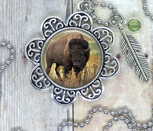 Buffalo, Photo Image in a Nice Setting, Adorned with a Feather Charm & Lt. Green Swarovski Crystal. Your Choice, Necklace, Backpack Clip, Keychain, or Purse Clip. Spirit Animal Totem, Park Ranger Gift