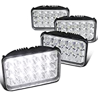 4PC 4x6 Chrome Sleaed H4 15-LED Hi/Low Beam Headlights Lamps (4pcs) 4x6 inch LED Headlights Rectangular Replacement H4651 H4652 H4656 H4666 H6545