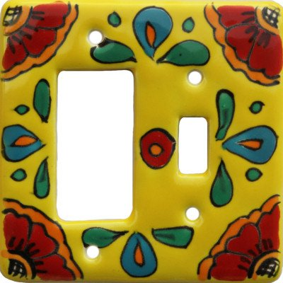 Canary Talavera Toggle-GFI Switch Plate Fine Crafts & Imports