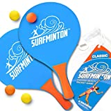 5. VIAHART Surfminton Classic Blue and Orange Beach Tennis Wooden Paddle Game Set (4 Balls, 2 Thick Water Resistant Wooden Rackets, 1 Reusable Mesh Bag) | New and Improved Fall 2019!