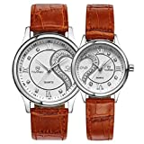 Lookatool 1 Pair/2pc Tiannbu Ultrathin Leather Romantic Fashion Couple Wrist Watches