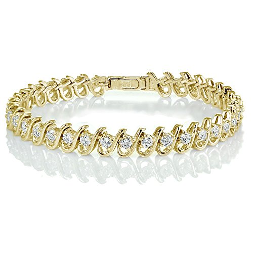 Yellow Gold Flashed Sterling Silver Cubic Zirconia S Link Tennis (Yellow Gold Cubic Zirconia Bracelet)