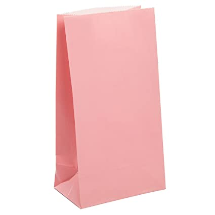Unique Party- Paquete de 12 bolsas de regalo de papel, Color rosa claro, 59001)
