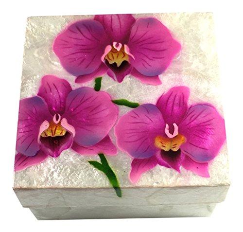 Orchid Box - Kubla Craft Capiz Shell Keepsake Box, Pink Orchids, 4 X 4