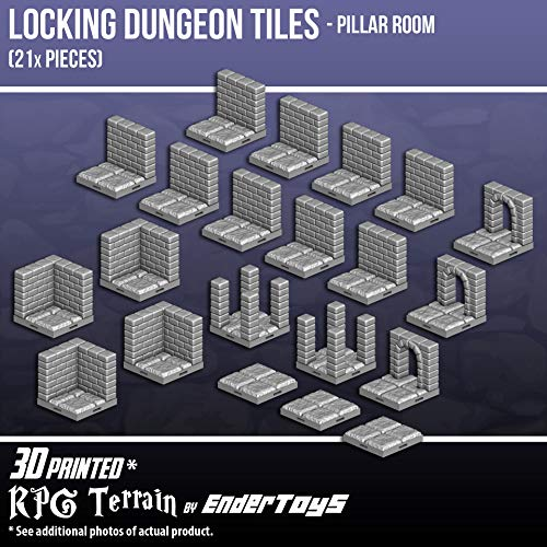Locking Dungeon Tiles - Pillar Room, Terrain Scenery Tabletop 28mm Miniatures Role Playing Game, 3D Printed Paintable, EnderToys