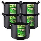 VIVOSUN 5-Pack 10 Gallon Plant Grow Bags, Heavy