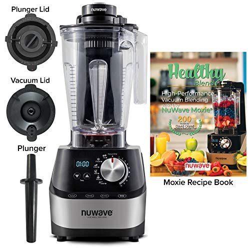 NUWAVE MOXIE High-Performance HP Digital Vacuum Blender NSF Certified Powerful 2.5 HP Motor Laser-Cut Hardened SS Blades SS Metal Drive System with HP Bearings 10 Adjustable Speeds 6 Pre-Programmed Settings Easy-to-Read Digital LED Display 64 oz BPA-Free Tritan Jar Vacuum Lid Plunger Lid Plunger and 200 Recipe Blending Book Blend Smoothies, Shakes, Fresh Juices, Nut Butters, Sorbets Ice Creams, Corn Meal Grains, and Hot Soups Experience What Difference AIRLESS Blending Makes
