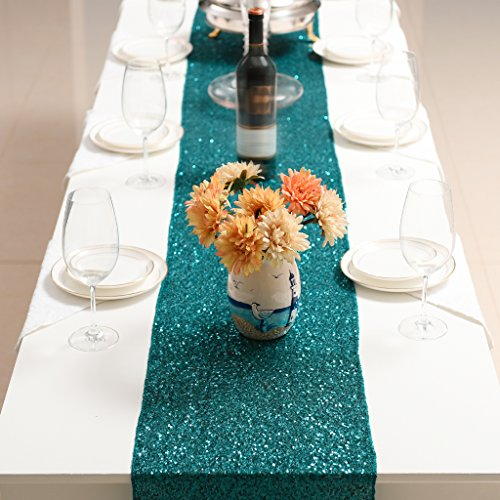 PONY DANCE Premium Quality Glitzy Table Runner Sparking Sequins Table Runner Christmas/Party/Birthday/Wedding/Banquet Decoration,14'' x 108'',(Teal) by PONY DANCE (Image #2)
