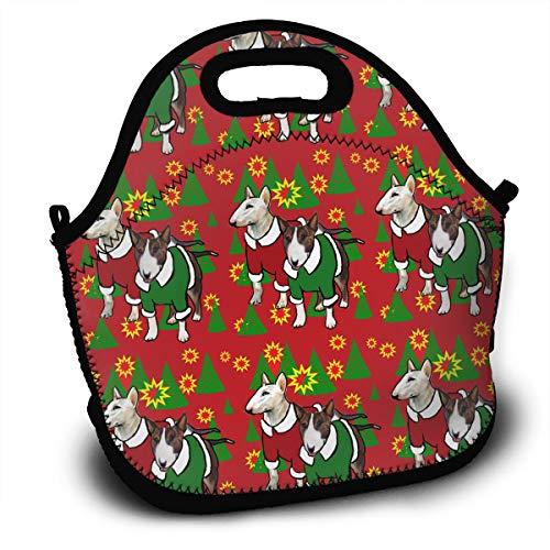 Terrier Zippered Tote - BIANDANN Christmas Bull Terriers Reusable Insulated Zippered Tote,Thermal Lunch Bag Printed Lunch Tote Handbag Kids & Adults Picnic Bag School Cooler Bag