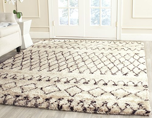 Safavieh Casablanca Shag Collection CSB851A Southwestern Ivory and Natural Premium Wool & Cotton Area Rug (4' x 6') Hand Woven Wool Shag Rug