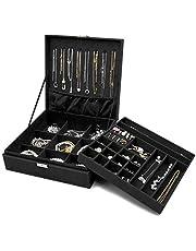 ProCase Sieradendoos-organizer voor Dames, Tweelaags Sieraden Display-opbergkoffer met 8 Kettinghangers en Verwijderbare Scheidingswand voor Oorbellen, Armbanden, Ringen, Horloges -Zwart