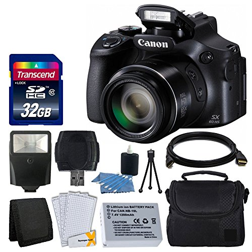 Canon PowerShot SX60 HS Digital Camera + Flash + Extra Battery + HDMI Cable + 32GB Class 10 Card Complete All You Need Deluxe Accessory Bundle And Much More